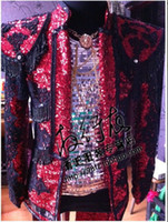 aura club - Concert sequins embroidery long aura suit club ds bar male singer new costumes Dance performance stage