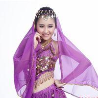 bellydance veils - Fashion Long Bellydance Veil Belly Dance Scarf Egypt Sari Dancing Bandana New Headdress Purple Blue Rose Yellow Red