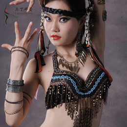 Wholesale Hot Selling Handmade Tribal Belly Dance Bra Top Black for Women on Sale