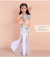 belly dance costume design - New design Children belly dance costume set Indian high class kids bellydance wear bra amp belt amp skirt on sale