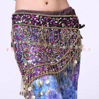 indian clothes - Belly dance clothing coin color sequins mesh fabric waist chain dance skirt hip scarf belt indian dance waist belt