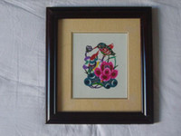 Wholesale Chinese Handicraft Scissor cut Thrush Bird Folk Art Colourful Paper cut Picture Frame