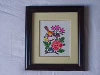 Wholesale Chinese Handicraft Scissor cut Magpie Bird Folk Art Colourful Paper cut Picture Frame