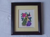 Wholesale Chinese Handicraft Scissor cut Peacock Folk Art Colourful Paper cut Picture Frame
