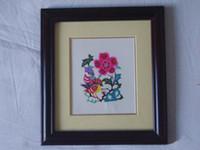 Wholesale Chinese Handicraft Scissor cut Mandarin Duck Folk Art Colourful Paper cut Picture Frame