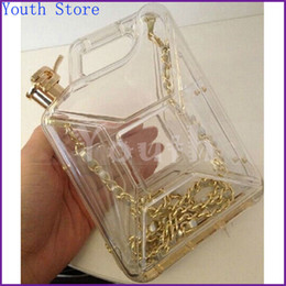 Wholesale Seasonal vintage cc gasoline bottle shape evening bag drum bag barrel c n acrylic handbag women plastic clutch purse A001