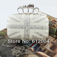 Wholesale Womens White Crystal Union Jack Flag Skull Knuckle Clutch Purse Evening Handbag Hot Sale
