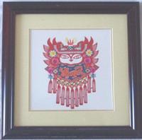 Wholesale Chinese Handicraft Scissor cut Pretty Girl Folk Art Colourful Paper cut Picture Frame