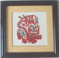 Wholesale Chinese Handicraft Scissor cut New Year Pictures Tiger Folk Art Colourful Paper cut Picture Frame