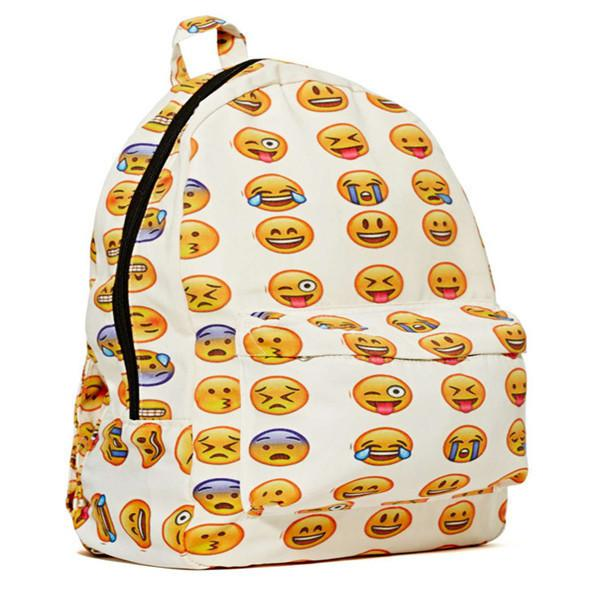 2015 Fashion Emoji Backpack Canvas 3d Emoji Printing Backpacks ...