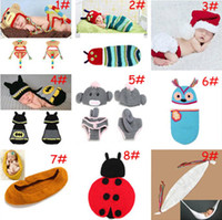 Cheap Baby Crochet Cartoon clothing Set for photograophy Kids knitted Photo Props Costume Infant Crochet Outfits 2set lot MZS-14043
