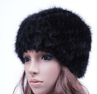 beach inside - Hot sale Warm Women Genuine Mink Fur Beanies Real Knitted Hat with knitting Wool inside Thick Cap Black Brown Color Winter Skull Caps