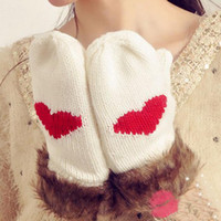beautiful love knitting - winter women gloves lovely Super beautiful wild love heart mittens warm thick wool knitted gloves ST6027