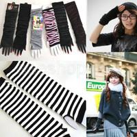 Wholesale PS110 New Fashion Korea Women Girls Soft Arm Warm Winter Long Fingerless Gloves Striped Knitted