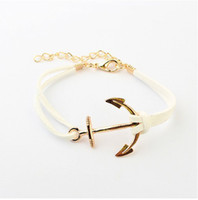 anchor plastics - B066 European and American style Hot Multi color K Gold Plated Anchor South Korean Fabric Leather Suede PUNK Bracelets