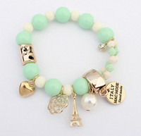 Wholesale 7 Colors New Brand Fashion Temperament Charm Crystal Gem Pearl Beads Hearts Elastic Force Bracelet For Women Jewelry B186
