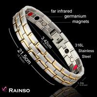 achat en gros de éléments en acier inoxydable-Healing Bracelet magnétique Hommes / Femme 316L acier inoxydable 3 éléments de soins de santé (magnétique, FIR, germanium) Bracelet en or Chaîne main