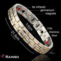 Healing Bracelet magnétique Homme / Femme 316L acier inoxydable 3 éléments de soins de santé (magnétique, FIR, germanium) Bracelet en or Chaîne main