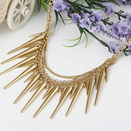 Fashion rivet Punk Jewelry multi-layer Gold Necklace Spike Choker Statement necklaces collares mujer 2015 bijouterie