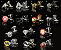 Wholesale Iron man superman batman regeneration spiderman captain America flash cufflinks eight kind of design quality assurance price is cheap