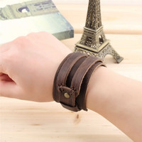 Wholesale Genuine Cowhide leather Buckle Punk wide Bracelet Wristband men boys Hot Sale Fine Jewelry