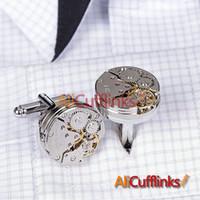 Wholesale Cufflinks Tourbillon Watch Stainless Steel men designer cufflinks Brand silver fashion golden cufflink cuff links