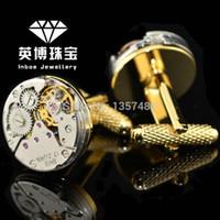 Wholesale INBOE Jewellery K gold original mechanical watch core cufflinks male French cuff links cufflink Gift
