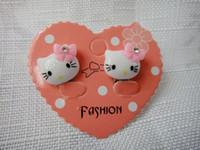 baby earring backs - 2pcs new cute Children s resin earrings clip kitty cat earrings cartoon earring baby jewelry Birthday Gifts