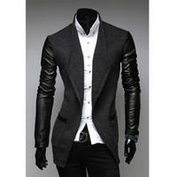 Wholesale 2015 Men New Fashion Slim Fit Jacket Coat Casual Stitching PU Leather Sleeve Stand Collar Blazers Black Gray Size L XL XXL