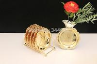 Wholesale Gold set aulic Relief round dessert cupcake plates tray dish coffee tea cup saucers coaster mat shelf