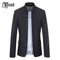 Wholesale Fashion Design Men retro collar Chinese tunic suit Fashion woollen solid coat Casual Long sleeve outerwear