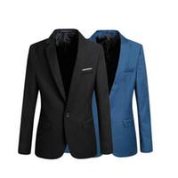 Wholesale 2015 Fashion Silm Fit Stylish Mens Suit V Neck One Button Blazer Suit Business Coat Jacket Blazers Small leisure suit Plus Size
