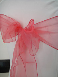 Red Watermelon organza chair sash chair bow 100pcs a lot free shipping for wedding,party,hotel use