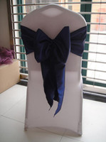 Wholesale 20cm W cm L NAVY BLUE Taffeta Chair Sash With For Wedding Party Hotel Decoration Use