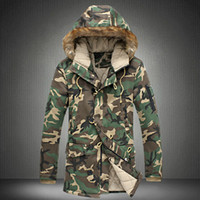 animal snow jackets - Men Camouflage Down Jackets New Winter Snow Fashion Brand Business Dress Camo Slim Fit Long Coats F0500