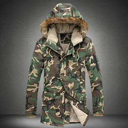 Wholesale-Men Camouflage Down Jackets New Winter Snow Fashion Brand Business Dress Camo Slim Fit Long Coats F0500