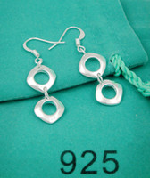 Silver Non-Stone Silver Wholesale -10pcs Brand New Fashion Jewelry 925 Silver earrings double squares Dangle & Chandelier