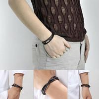Wholesale Fashion Womens Mens Black Brown Retro Leather Interlaced Cuff Bangle Wristband Bracelet
