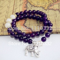 Cheap 4365 National Purple Agate Crystal Jade Beads Tibet Silver Elephant Shamballa Vintage Healthy Energy Power Buddha Bracelets