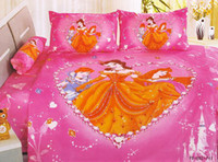 Wholesale Beautiful Pink Princess PC set Cartoon Children Queen girls bedding sets cotton kids bedspread