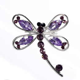 Wholesale Fashion Women Jewelry Gift Rhinestone Dragonfly Brooch Pin Dress Accessories Wedding Bridal brooches bouquet