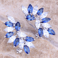 Wholesale Blue Sapphire White Topaz Sterling Silver Overlay Clip Huggie Earrings For Women amp Jewelry Bag S0238