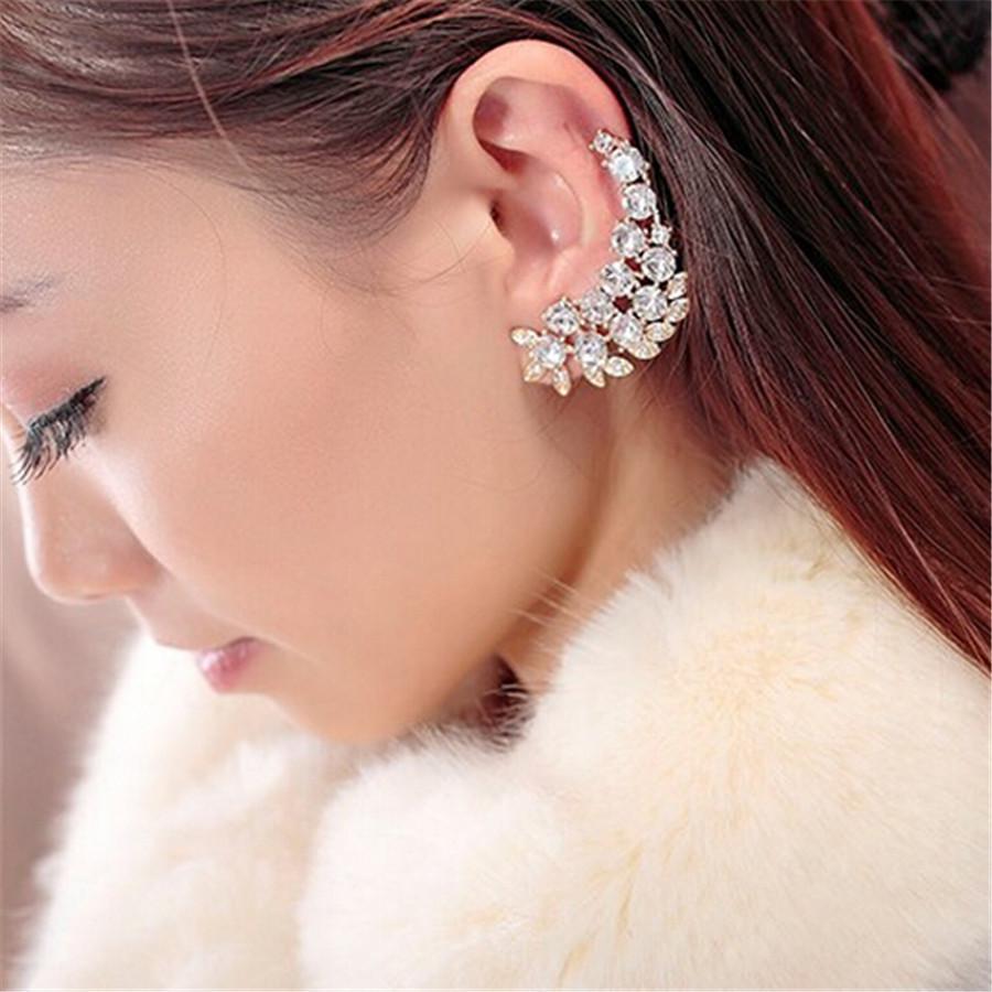 2017 Big Brand Ear Cuff Gold Full Crystal Earrings For Women