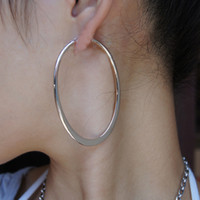 basket ball wifes - k Plated Platinum Oval Shape Hoop Earring Basket Ball Wives Earrings