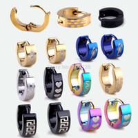 blue stainless steel earring - Hot pairs Cool Stainless Steel Ear Hoop Earrings Black Blue Silver Gold Tone Men Women Jewelry Free