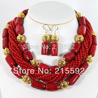 coral coral necklace - Nigerian Beads Jewery Set African Coral Beads Jewelry Set New Best Selling CJ012