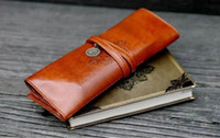 accessories cosmetic purses - New Fashion Designer Retro Roll Leather Make up Cosmetic Pen Pencil Case Pouch Purse Bag Accessories For Women Female