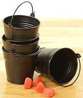 pails - Black Mini Pails wedding favors Baby favors mini bucket candy sweet pails