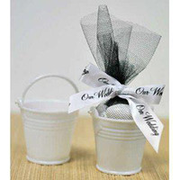 Wholesale 100pcs Metal White Mini Pails Wedding Favors mini pails tin candy box gift package sweet favor boxes nice party supply
