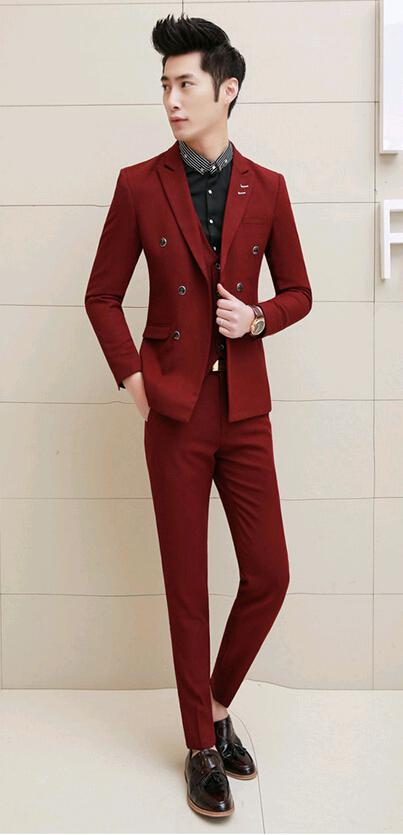 Spring 2015 Fashion Men's Tuxedo Slim Fit Custom Korean Suit Men ...